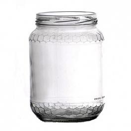 Pot verre rond 390 ml frise alvéolée 500 g miel TO70